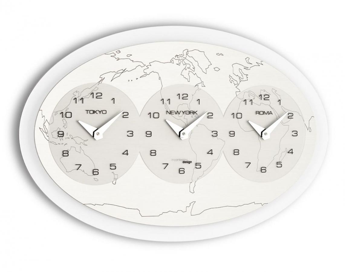 Настенные часы Incantesimo Design 208 Tre ore nel mondo (Серебристый металлик)
