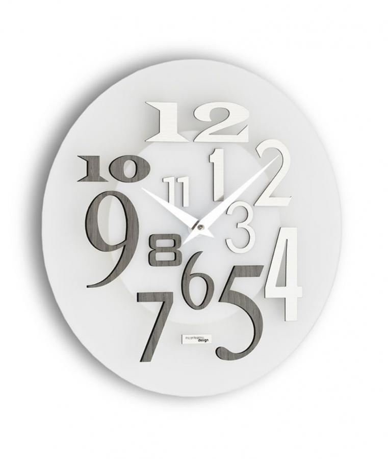 Настенные часы Incantesimo Design Модель 036 GRA Free (Серое дерево/Белый металлик)