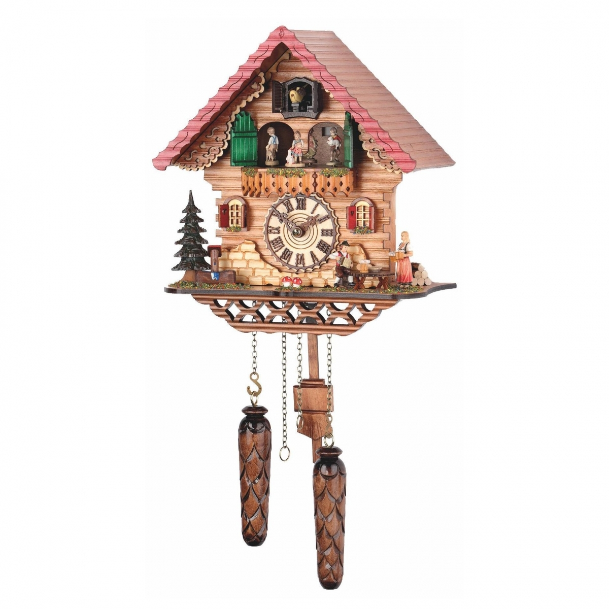 Кварцевые настенные часы с кукушкой + 12 мелодий и танцоры TOMAS STERN 5072