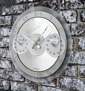 Настенные часы Incantesimo Design 141 M Momentum. Три города (Серебристый металлик)
