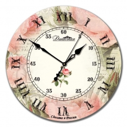 """Настенные часы из дерева Династия 02-018 """"Роза ретро"""""""